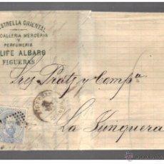 Sellos: FIGUERAS 1873 - AMADEO 10 CENT. CARTA COMERCIAL IMPRESA - LA ESTRELLA ORIENTAL - MUY BONITA PIEZA. Lote 49145508
