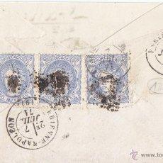 Selos: SOBRE DE VALENCIA A FRANCIA. TRIPLE PORTE MATRONA. 1871. RARA. VER ANVERSO. Lote 49242769