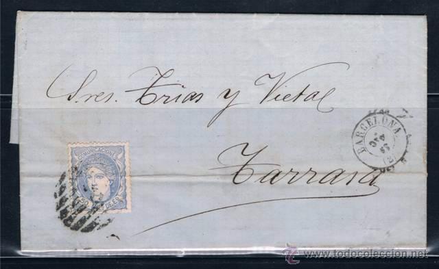 1870 BARCELONA A TARRASA (Sellos - España - Amadeo I y Primera República (1.870 a 1.874) - Cartas)