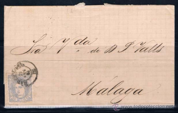 1870 BARCELONA A MALAGA (Sellos - España - Amadeo I y Primera República (1.870 a 1.874) - Cartas)