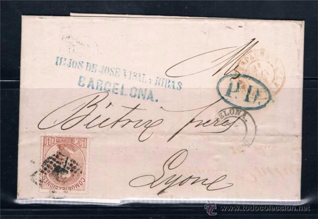 BARCELONA A LYON (FRANCIA) (Sellos - España - Amadeo I y Primera República (1.870 a 1.874) - Cartas)