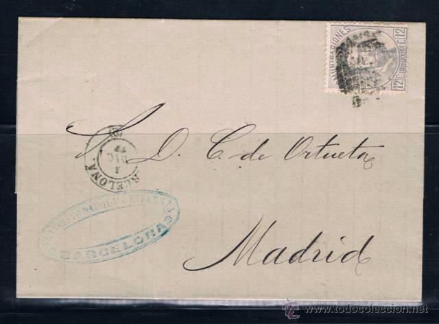 BARCELONA A MADRID (Sellos - España - Amadeo I y Primera República (1.870 a 1.874) - Cartas)