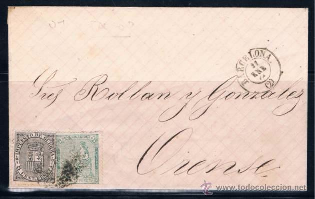 1874 BARCELONA A ORENSE (Sellos - España - Amadeo I y Primera República (1.870 a 1.874) - Cartas)