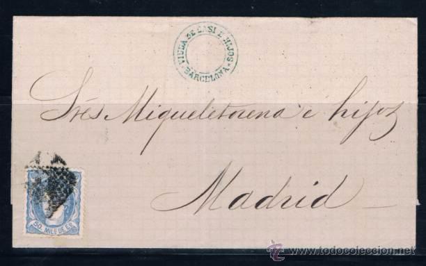 1872 BARCELONA A MADRID (Sellos - España - Amadeo I y Primera República (1.870 a 1.874) - Cartas)