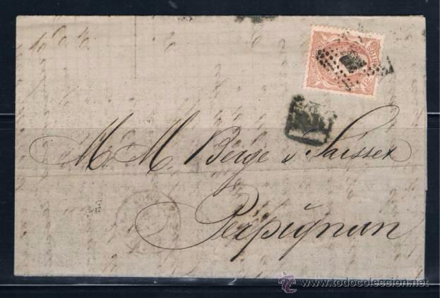 1871 BARCELONA A PERPIGNAN (FRANCIA) (Sellos - España - Amadeo I y Primera República (1.870 a 1.874) - Cartas)