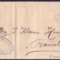 Sellos: ESPAÑA. (CAT. 107). 1872. CARTA DE ÁGUILAS (MURCIA) A BARCELONA. 50 MLS. CORREO ENCAMINADO. MUY RARA. Lote 49586851