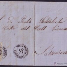 Sellos: ESPAÑA. (CAT. 107). 1870. CARTA DE VILLAFRANCA A BARCELONA. 50 MLS. MAT. * VILLAFRANCA/BARCELONA *.. Lote 49587244