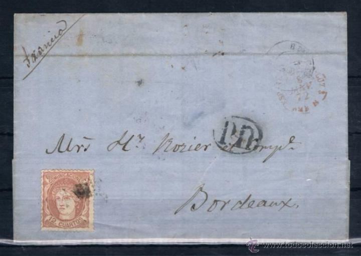 1872.- BURGOS A BURDEOS (FRANCIA) (Sellos - España - Amadeo I y Primera República (1.870 a 1.874) - Cartas)