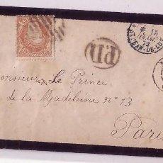 Sellos: F11-18-SOBRE LUTO (RARO) MADRID-FRANCIA 1872 (12 CUARTOS EN CARTA). Lote 50755223