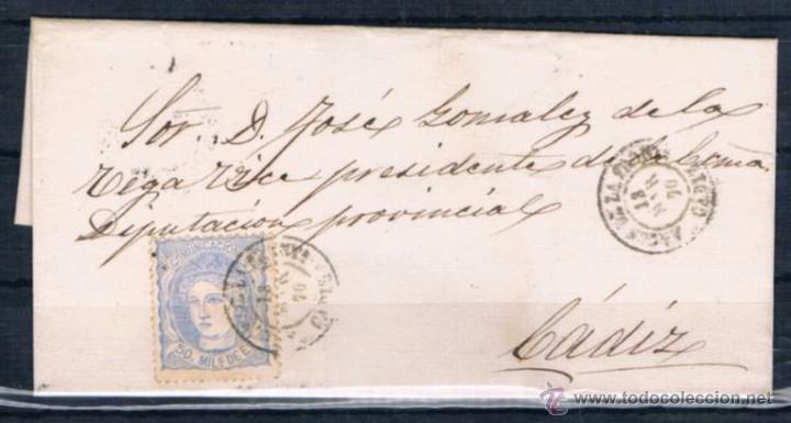 1870.- ARCOS DE LA FRONTERA A CADIZ (Sellos - España - Amadeo I y Primera República (1.870 a 1.874) - Cartas)