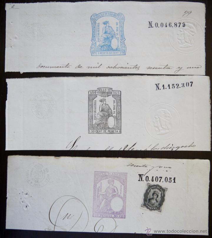 TRES SELLOS CLASICOS FISCALES 1875, 1875 Y 1876. ANTIGUOS SELLOS FISCALES TIMBROLOGIA FILATELIA FISC (Sellos - España - Amadeo I y Primera República (1.870 a 1.874) - Usados)