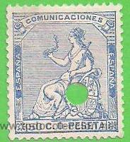 EDIFIL 137. (137T) TELÉGRAFOS - ALEGORÍA DE ESPAÑA - I REPÚBLICA. (1873). (Sellos - España - Amadeo I y Primera República (1.870 a 1.874) - Usados)
