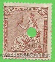 EDIFIL 139. (139T) TELÉGRAFOS - ALEGORÍA DE ESPAÑA - I REPÚBLICA. (1873). - PRECIO CAT. 27.50€. (Sellos - España - Amadeo I y Primera República (1.870 a 1.874) - Usados)