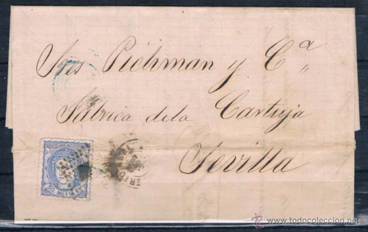 1872.- PUERTO REAL A SEVILLA (Sellos - España - Amadeo I y Primera República (1.870 a 1.874) - Cartas)