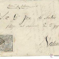 Sellos: 1874 CARTA DE ALBACETE A VALENCIA FRANQUEO 141 Y 145. Lote 52128774