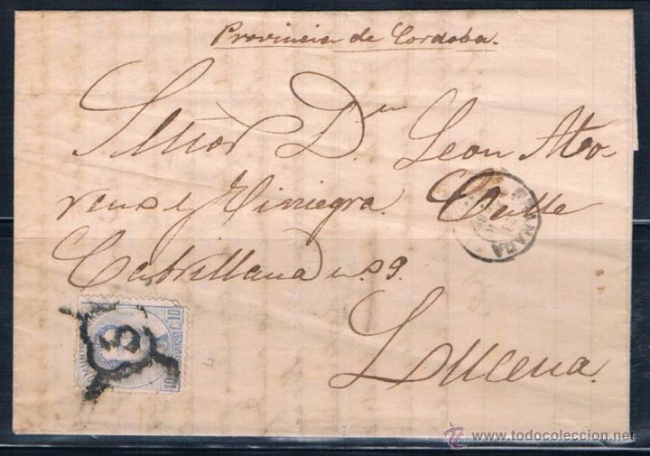 1873.- GRANADA A LUCENA (Sellos - España - Amadeo I y Primera República (1.870 a 1.874) - Cartas)