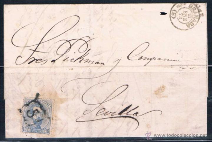 1873.- GRANADA A SEVILLA (Sellos - España - Amadeo I y Primera República (1.870 a 1.874) - Cartas)