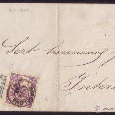 Sellos: ESPAÑA. (CAT. 130,144). 1875. IMPRESO CORREO INTERIOR BARCELONA.1/4 CTMO. Y 5 CTS. FRANQUEO MIXTO.. Lote 52530544