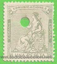 EDIFIL 138. (138T) TELÉGRAFOS - ALEGORÍA DE ESPAÑA - I REPÚBLICA. (1873). (Sellos - España - Amadeo I y Primera República (1.870 a 1.874) - Usados)