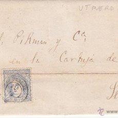 Sellos: CARTA DE MARIA DE LAS M. VALLEJO DE UTRERA-SEVILLA- CON SELLO DE COMUNICACIONES 1870. Lote 53454774