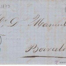 Sellos: CARTA ENTERA NUM 133 DE FERNANDO NAVARRO DE CHERTA A BARCELONA 1873 FECHADOR DE TORTOSA. Lote 53592578