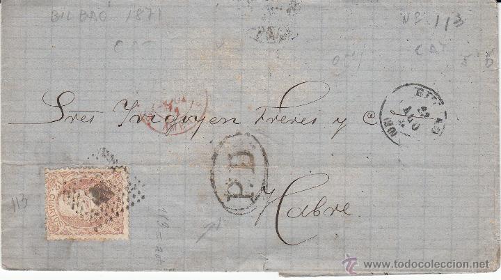 ENVUELTA DEL 12 CUARTOS NUM. 113 DESTINO LE HAVRE -FRANCIA-CON MATASELLOS FRANCESES Y ROMBO PUNTOS (Sellos - España - Amadeo I y Primera República (1.870 a 1.874) - Cartas)