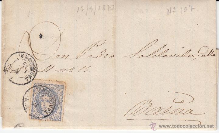 CARTA COMPLETA CON SELLO NUM.107 DE SALVADOR SANS DE REUS A BARCELONA ---1870---- (Sellos - España - Amadeo I y Primera República (1.870 a 1.874) - Cartas)