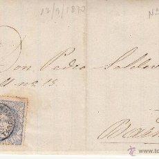 Sellos: CARTA COMPLETA CON SELLO NUM.107 DE SALVADOR SANS DE REUS A BARCELONA ---1870----. Lote 53958437