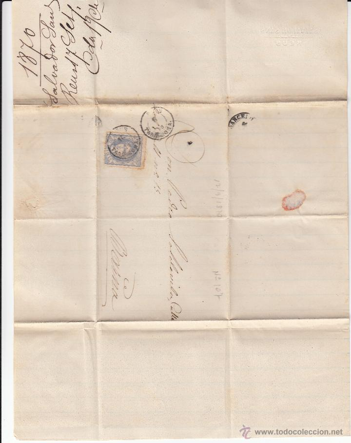 Sellos: CARTA COMPLETA CON SELLO NUM.107 DE SALVADOR SANS DE REUS A BARCELONA ---1870---- - Foto 2 - 53958437