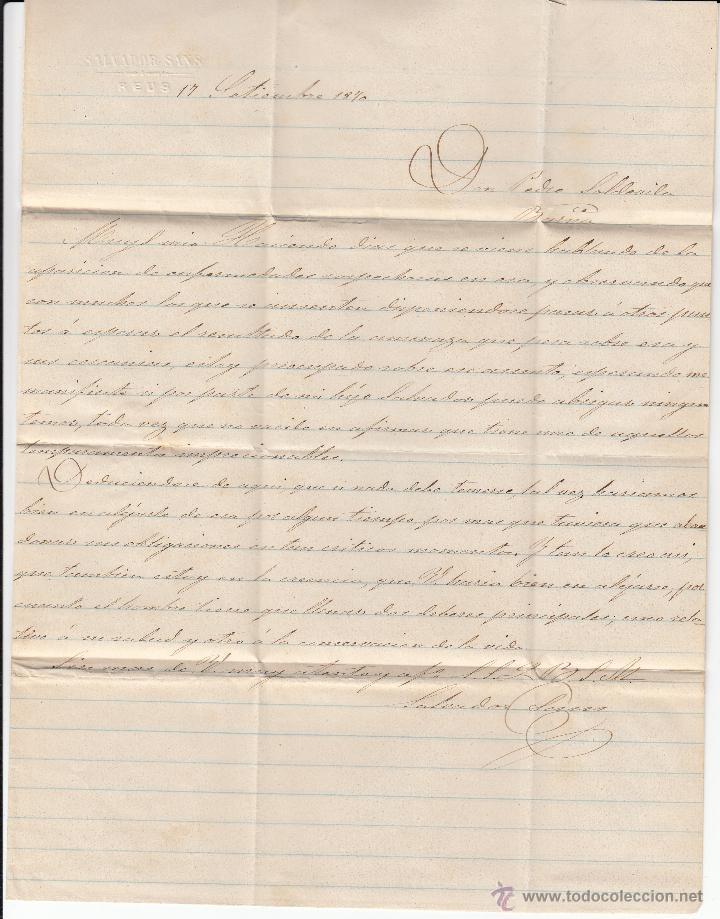 Sellos: CARTA COMPLETA CON SELLO NUM.107 DE SALVADOR SANS DE REUS A BARCELONA ---1870---- - Foto 3 - 53958437