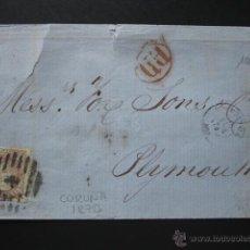 Sellos: CARTA, 1870. CARTA DE CORUÑA A PLYMOUTH. SELLO Nº 109, 200 MILÉSIMAS CASTAÑO. MARCA P.D. EN ROJO. Lote 54022432