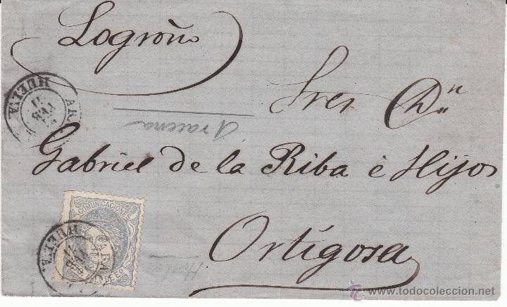 ENVUELTA CON SELLO NUM. 107 A ORTIGOSA CON MATASELLOS DE ARACENA -HUELVA- (Sellos - España - Amadeo I y Primera República (1.870 a 1.874) - Cartas)