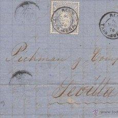 Sellos: CARTA COMPLETA CON SELLO NUM 107 FECHADOR DE REUS ---1870---- DESTINO SEVILLA. Lote 55011872