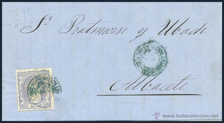 CARTA CIRCULADA CON SELLO CLÁSICO AZUL.......1870 (Sellos - España - Amadeo I y Primera República (1.870 a 1.874) - Cartas)