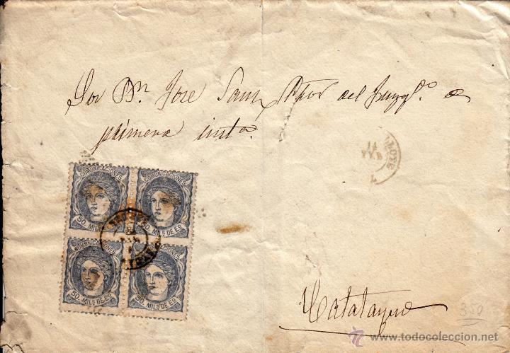 SOBRE A CALATAYUD CON MATº FECHADOR. EDIFIL 107 EN BLOQUE DE CUATRO. (Sellos - España - Amadeo I y Primera República (1.870 a 1.874) - Cartas)
