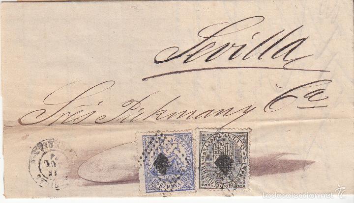 CARTA A SEVILLA .EDIFIL 141 Y 145. MATº ROMBO DE PUNTOS. (Sellos - España - Amadeo I y Primera República (1.870 a 1.874) - Cartas)