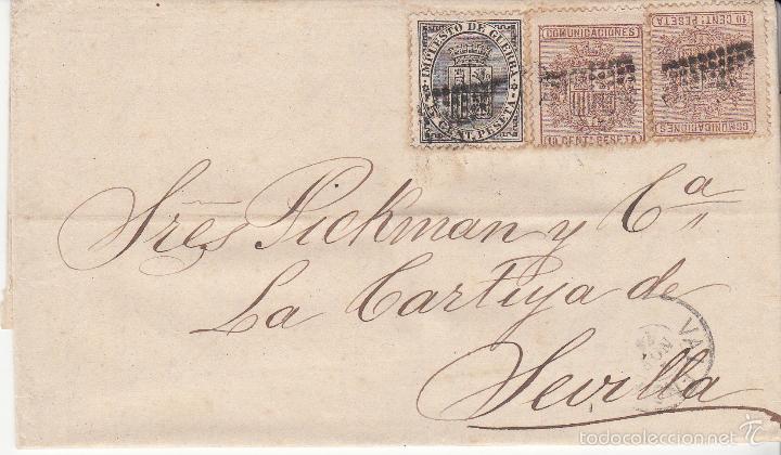 CARTA DE VALENCIA A SEVILLA .EDIFIL 141 Y 153 (DOS SELLOS). MATº ROMBO DE PUNTOS.Y FECHADOR VALENCIA (Sellos - España - Amadeo I y Primera República (1.870 a 1.874) - Cartas)