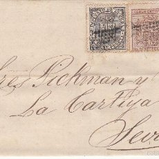 Sellos: CARTA DE VALENCIA A SEVILLA .EDIFIL 141 Y 153 (DOS SELLOS). MATº ROMBO DE PUNTOS.Y FECHADOR VALENCIA. Lote 55325426