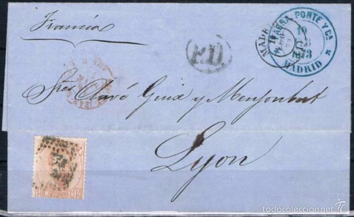 1873.- MADRID A LYON (FRANCIA (Sellos - España - Amadeo I y Primera República (1.870 a 1.874) - Cartas)