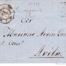 Sellos: CARTA COMPLETA CON SELLO NUM107 DE MANUEL M. LAFUENTE DE VALLADOLID CON DESTINO AVILA --1870---. Lote 56466857