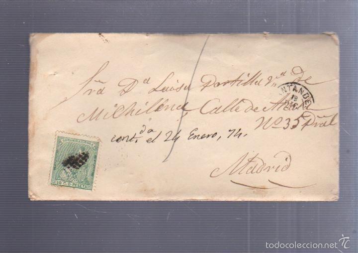 CARTA DIRIGIDA DE SANTANDER A MADRID. VER SELLO (Sellos - España - Amadeo I y Primera República (1.870 a 1.874) - Cartas)