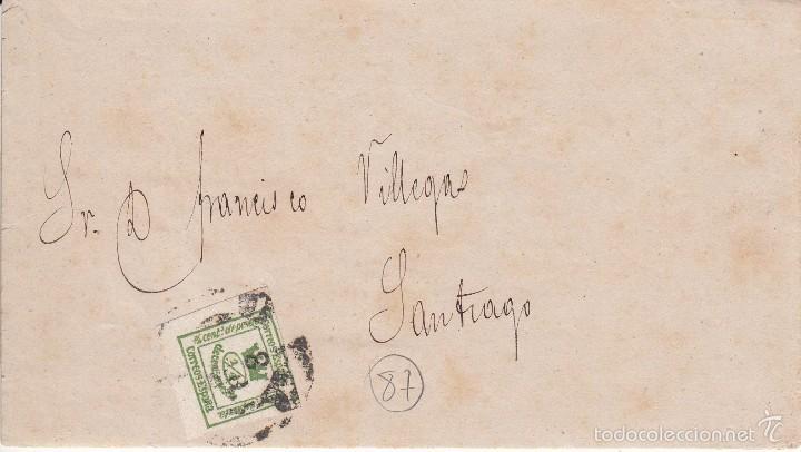CARTA: 1872 SEVILLA - SANTIAGO / SELLO 1/4 CENT. DE PESETA (Sellos - España - Amadeo I y Primera República (1.870 a 1.874) - Cartas)
