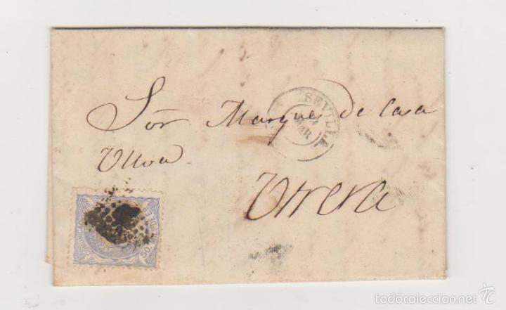 CARTA DE SEVILLA A UTRERA DEL 19 MARZO 1872. FRANQUEADO CON EDIFIL 107,MATASELLO ROMBO DE PUNTOS Y (Sellos - España - Amadeo I y Primera República (1.870 a 1.874) - Cartas)