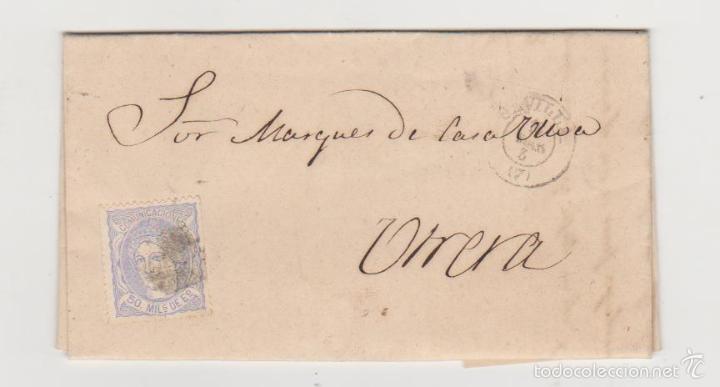 CARTA DE SEVILLA A UTRERA DEL 2 MARZO 1872. FRANQUEADO CON EDIFIL 107,MATASELLO ROMBO DE PUNTOS Y (Sellos - España - Amadeo I y Primera República (1.870 a 1.874) - Cartas)