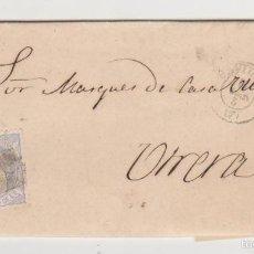 Sellos: CARTA DE SEVILLA A UTRERA DEL 2 MARZO 1872. FRANQUEADO CON EDIFIL 107,MATASELLO ROMBO DE PUNTOS Y. Lote 57755309