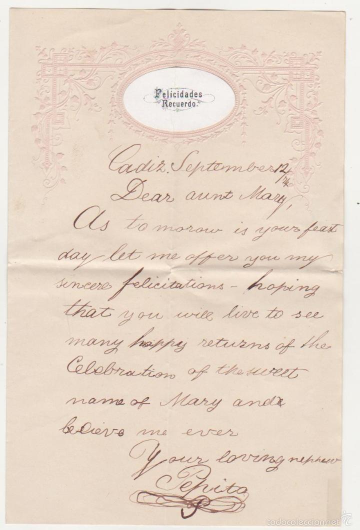 CARTA DE FELICITACIÓN. FECHADA EN CADIZ EL 12 DE SEPTIEMBRE DE 1874. SIN FRANQUEO. (Sellos - España - Amadeo I y Primera República (1.870 a 1.874) - Cartas)
