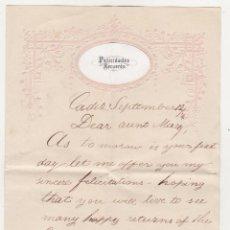 Sellos: CARTA DE FELICITACIÓN. FECHADA EN CADIZ EL 12 DE SEPTIEMBRE DE 1874. SIN FRANQUEO.. Lote 58339650