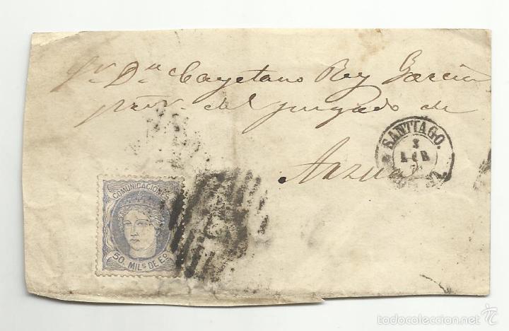 FRONTAL CIRCULADA DE SANTIAGO CORUÑA A JUEZ DE ARZUA (Sellos - España - Amadeo I y Primera República (1.870 a 1.874) - Cartas)