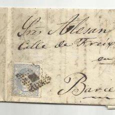 Sellos: CIRCULADA Y ESCRITA 1872 DROGUERIA HERBORISTERIA REUS TARRAGONA A BARCELONA. Lote 58410480