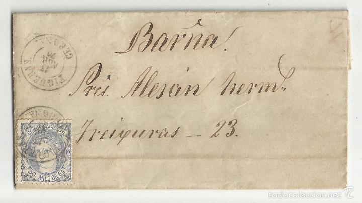 CIRCULADA Y ESCRITA 1870 DE FIGUERES GIRONA A BARCELONA (Sellos - España - Amadeo I y Primera República (1.870 a 1.874) - Cartas)
